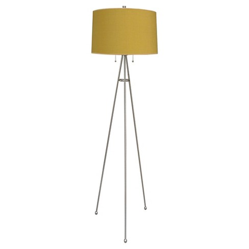 "Tripod Floor Lamp with Gold Shade -58""H - Brushed Steel - image 1 of 1"