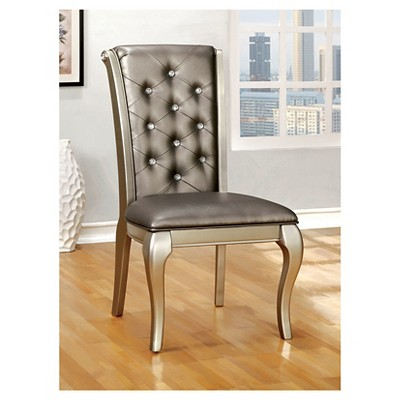 Charmant IoHomes Samantha Tufted Scrolled Back Side Dining Chair   Silver (Set Of 2)  : Target