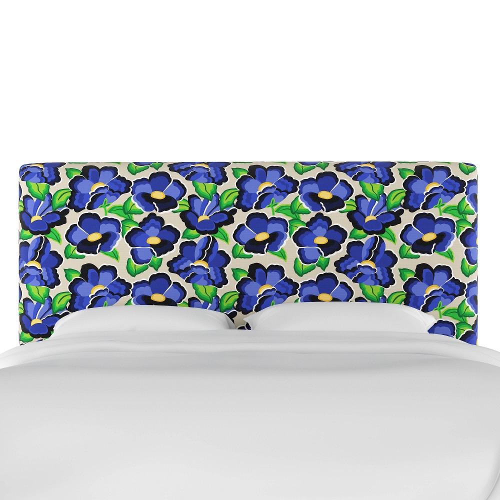 Full Upholstered Headboard In Carla Floral Blue Skyline Furniture