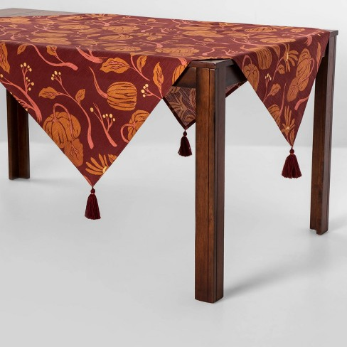 "52""x52"" Pumpkin Table Throw Wave Dark Red - Opalhouse™ - image 1 of 3"