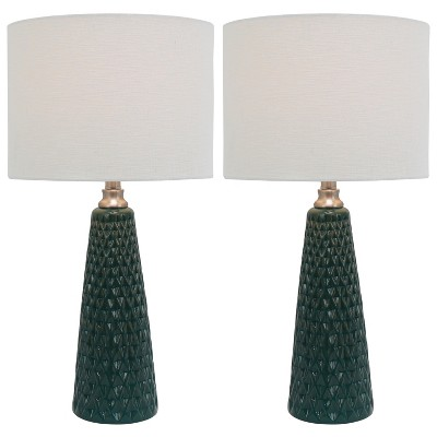Coast Ceramic 2pk Table Lamps Emerald (Lamp Only)- Decor Therapy