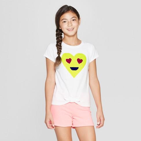 a76545b6b8139 Girls  Short Sleeve Tie Front Emoji Flip Sequins T-Shirt - Cat   Jack™ White