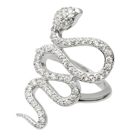 1 7/8 CT. T.W. Round-cut Cubic Zirconia Snake Pave Set Ring in Sterling Silver - Silver - image 1 of 2