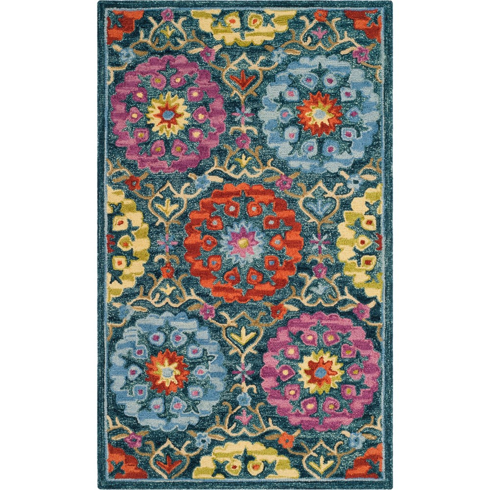 Best Price 3X5 Floral Hooked Accent Rug Blue Safavieh