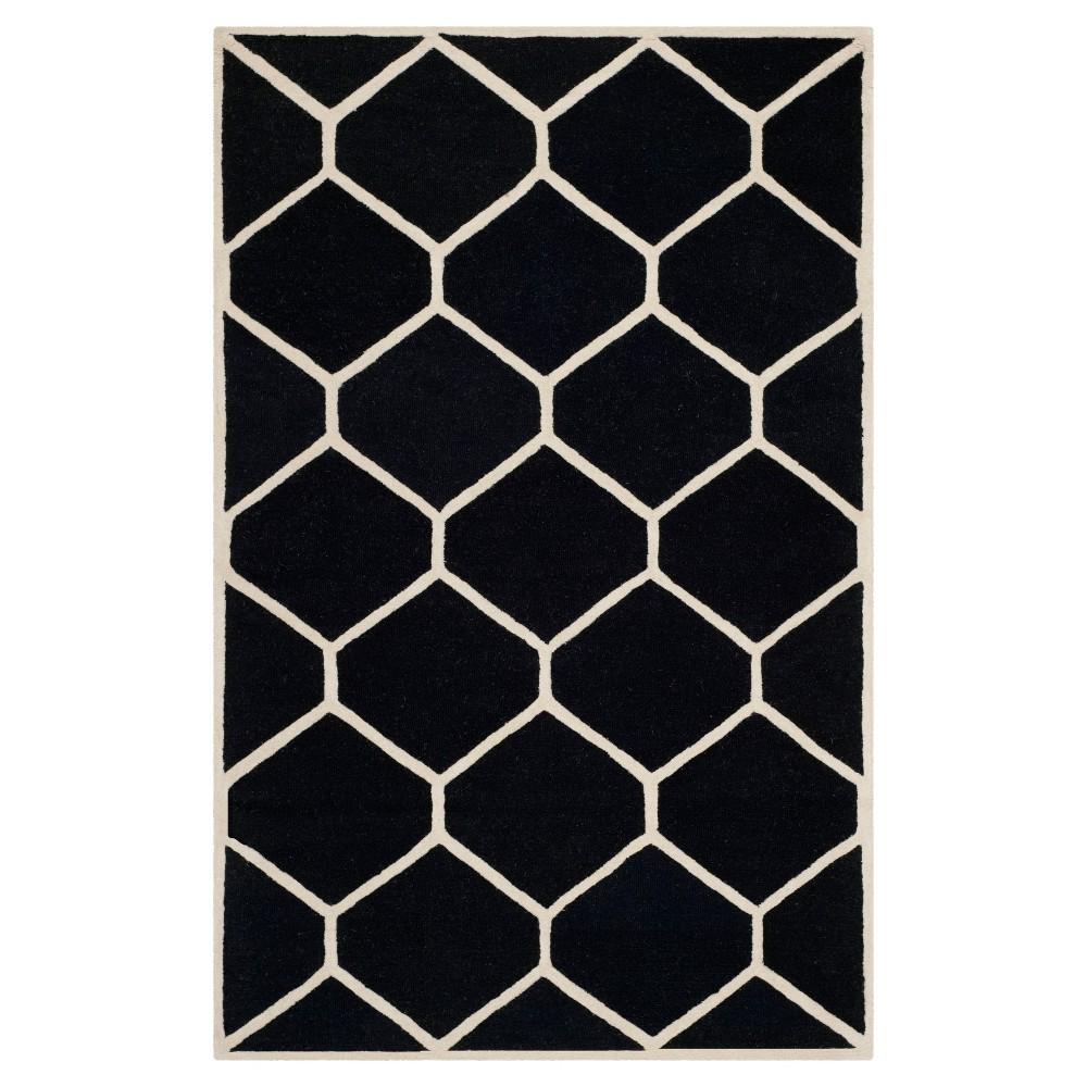 Hunter Texture Wool Rug - Black / Ivory (5' X 8') - Safavieh, Black/Ivory