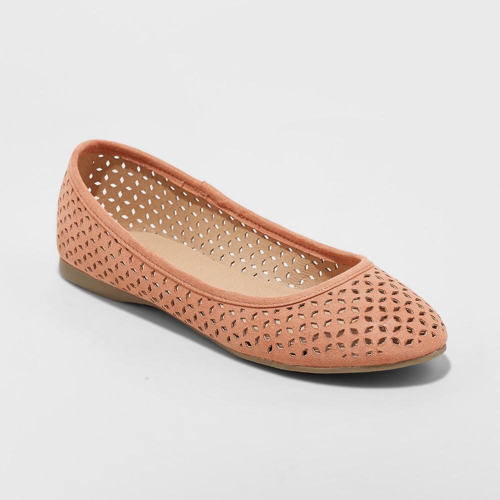 Women's Alisa Wide Width Closed Toe Ballet Flats - Universal Thread Rust (Red) 10W, Size: 10 Wide