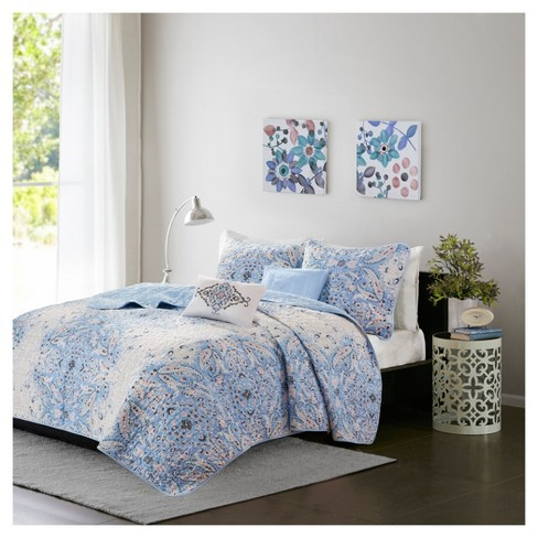 Blue Alexis Paisley Printed Quilt Set (Twin/Twin XL) 4pc - image 1 of 6