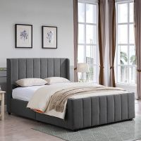 Antoinette Traditional Fully-Upholstered Queen-Size Bed Frame by Christopher Knight Home (Charcoal Gray)