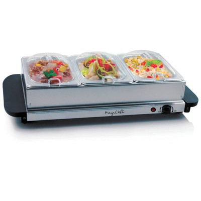 MegaChef Food Warmer & Serve with Sectional Trays - Silver