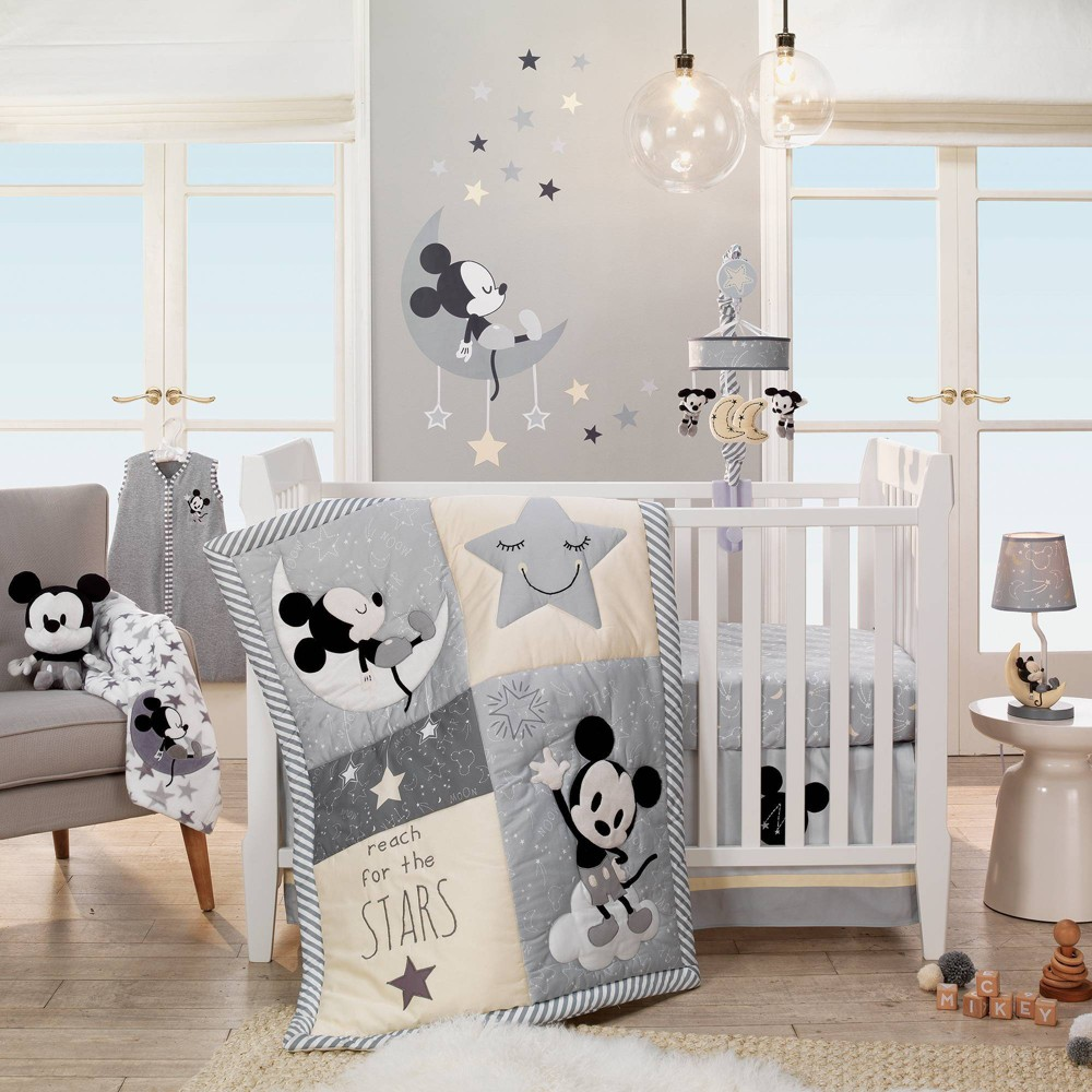 Image of Lambs & Ivy Disney Baby Nursery Crib Bedding Set - Mickey Mouse 4pc