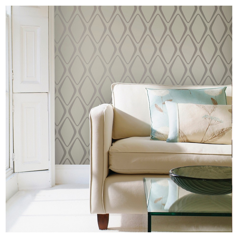 Devine Color Diamond Peel & Stick Wallpaper - Mirage and Sterling, Gray