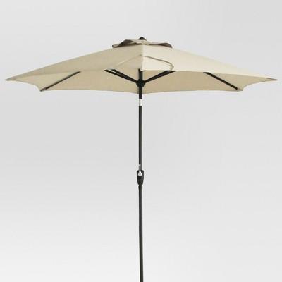 9' Round Patio Umbrella - Tan - Black Pole - Threshold™