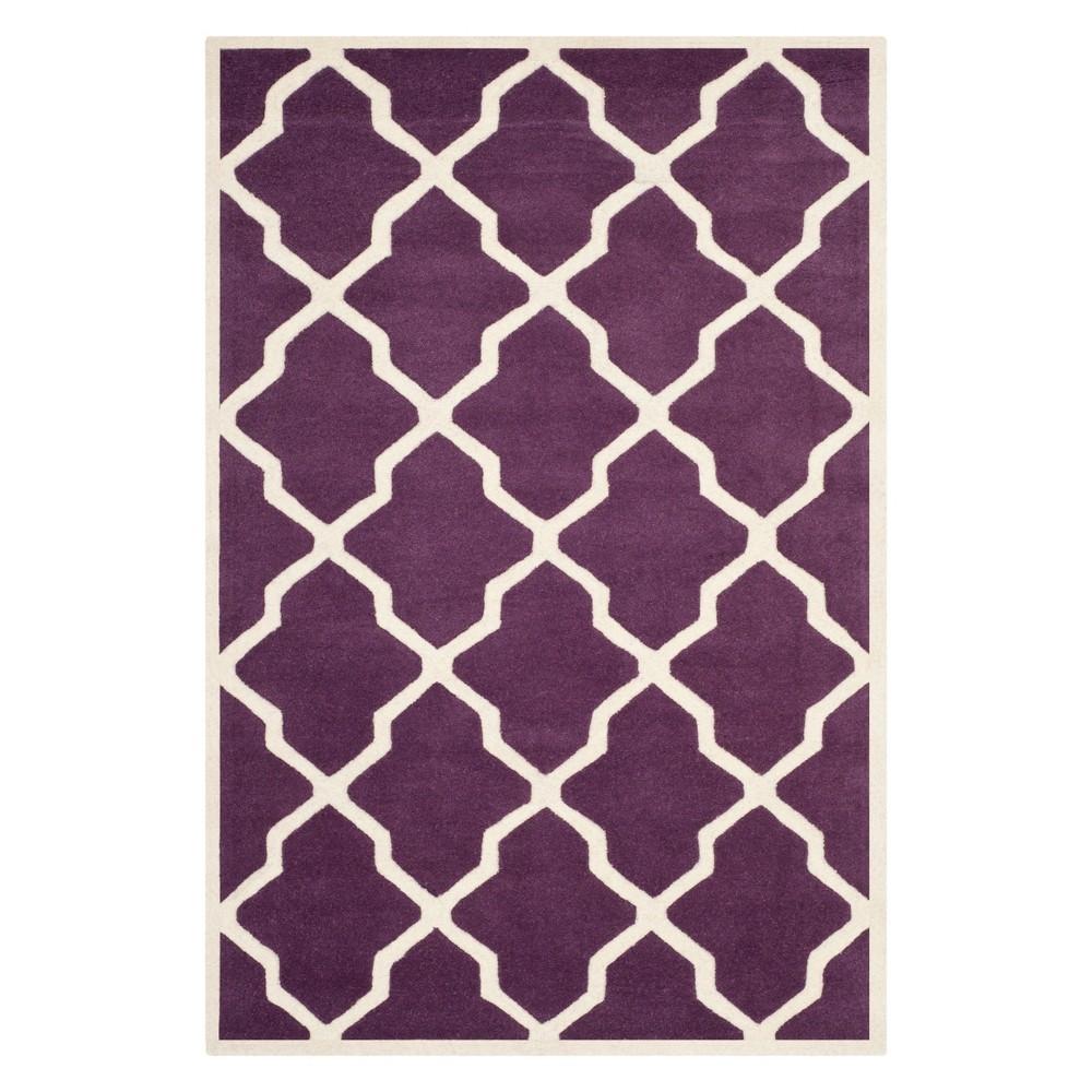 4 X6 Quatrefoil Design Tufted Area Rug Purple Ivory Safavieh