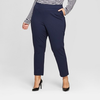 d74904884f8 Women s Plus Size Pull On Slim Ankle Ponte Pants - Ava   Viv™ Navy 4X    Target