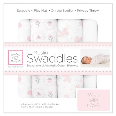 SwaddleDesigns Cotton Muslin Swaddle Blankets - Butterflies and Posies - 4pk - Pastel Pink
