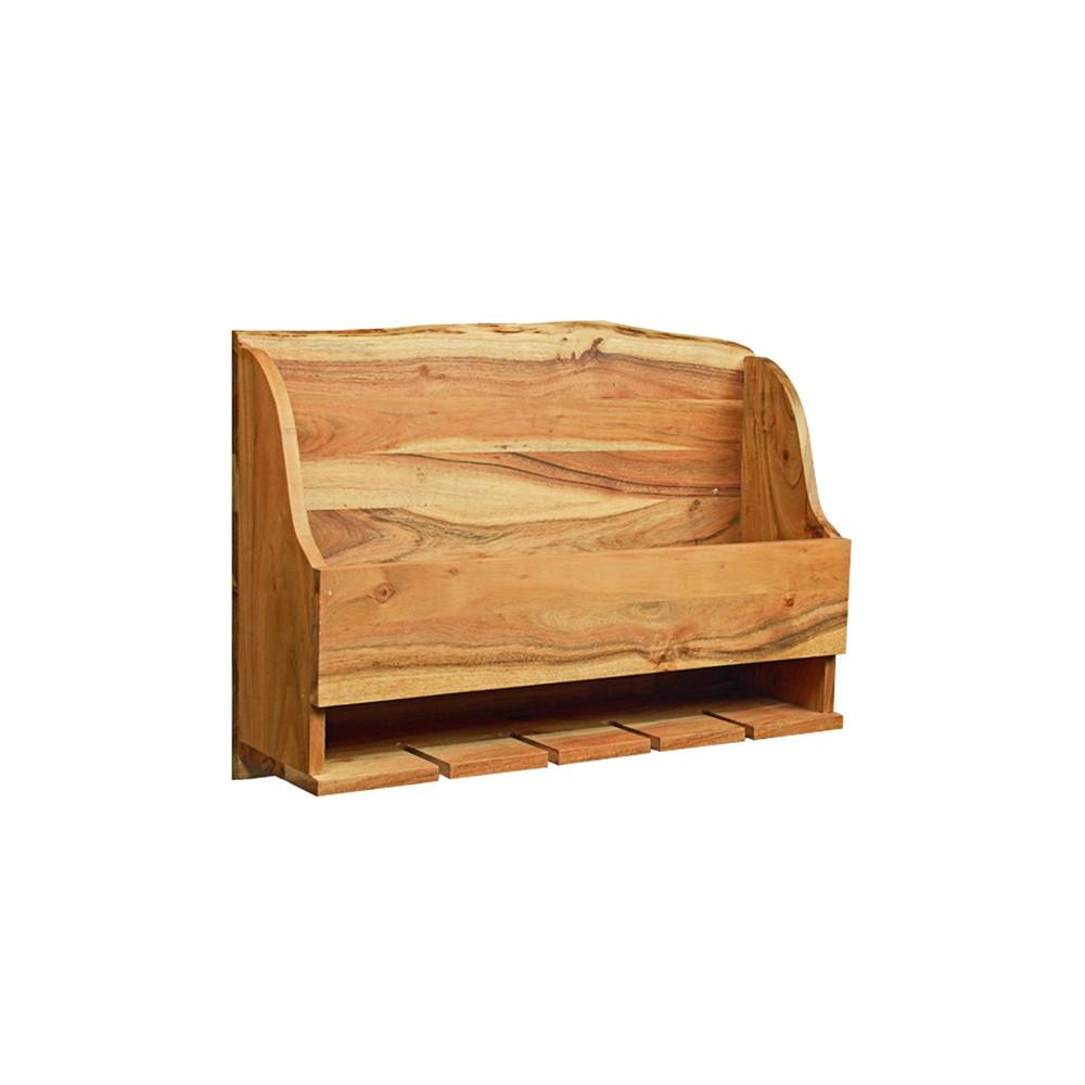 Alaterre Furniture Alpine Natural Brown Live Edge Wine Rack Wood