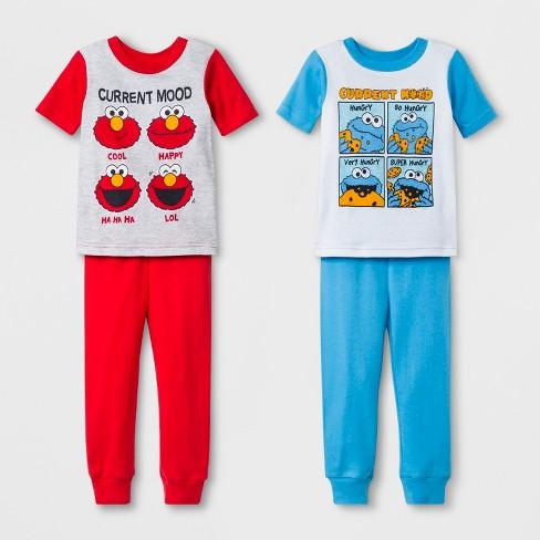 1381ec310 Toddler Boys' Sesame Street 4pc Pajama Set - Blue/Red : Target