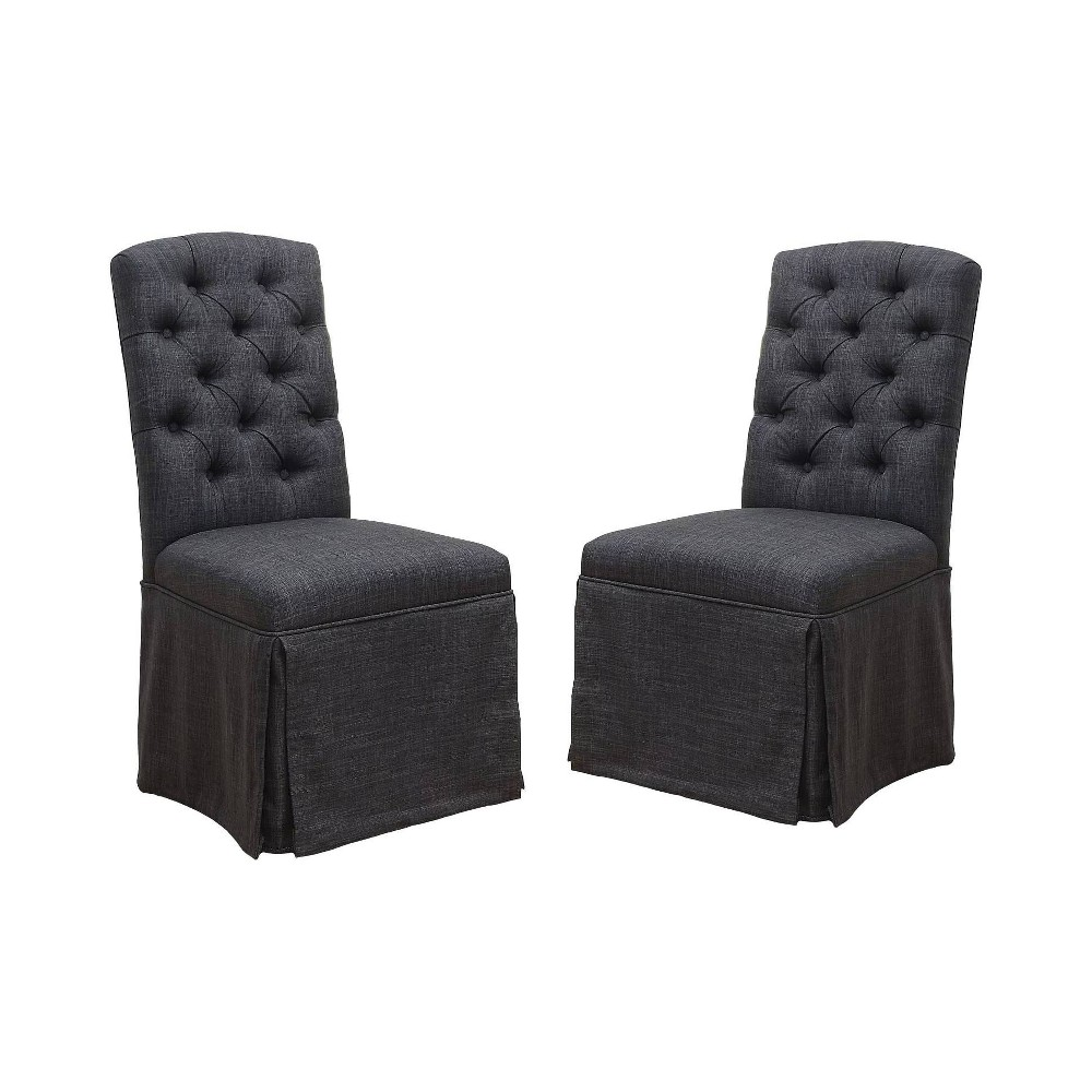 Set of 2 Palmquist Transitional Button Tufted Dining Chair Dark Gray - ioHOMES