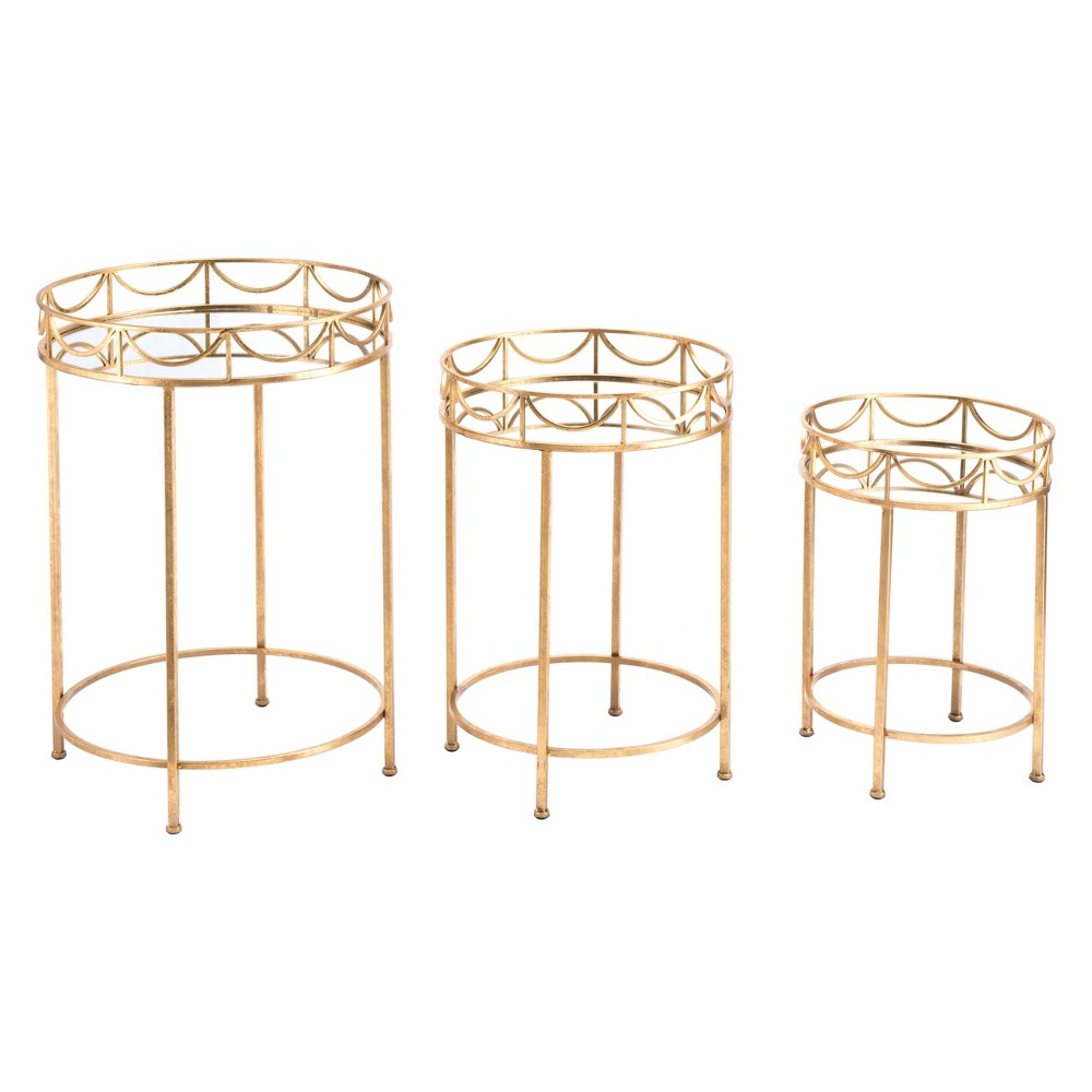 Luxe Set of 3 Accent Tables Gold - ZM Home