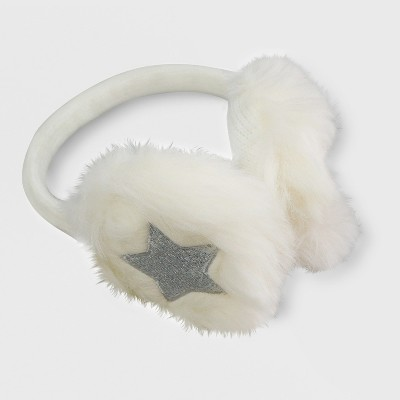 One Size Crazy Faux Fur Earmuff and Mitten Set Cat & Jack™ - Cream