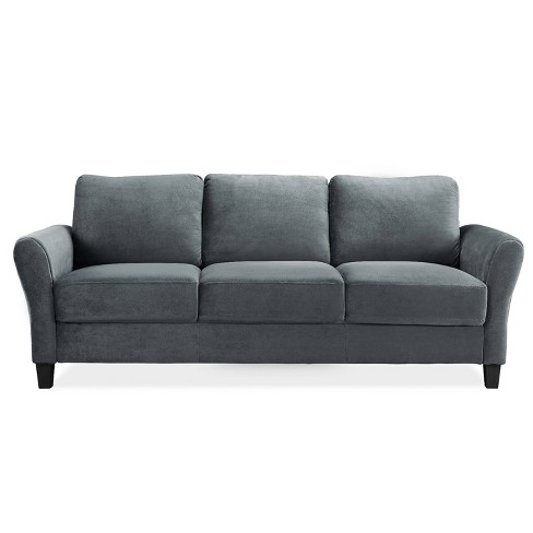 Willow Microfiber Sofa With Rolled Arms