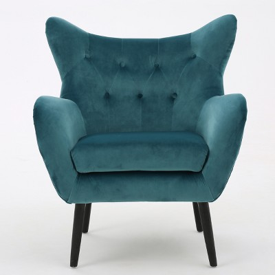 Alyssa New Velvet Arm Chair - Dark Teal - Christopher Knight Home