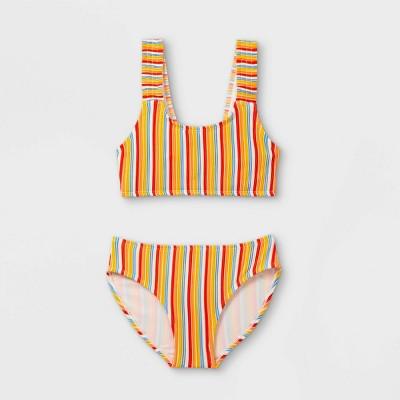 Girls' Ribbed Stripe Bikini Set - art class™