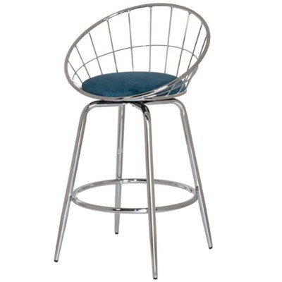 Bullock Rounded Disc Metal Swivel Velvet Counter Height Barstool - Hillsdale Furniture