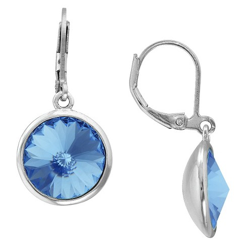 Silver Plated Sapphire Crystal Round Dangle Earrings - image 1 of 1