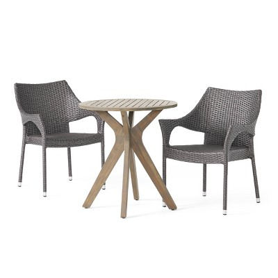 Bryant 3pc Acacia Wood & Wicker Bistro Set - Gray/Gray - Christopher Knight Home