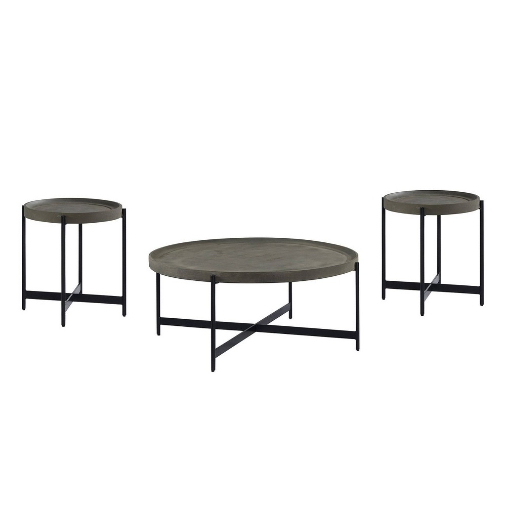 3pc Brookline Table Set Concrete Gray Alaterre Furniture