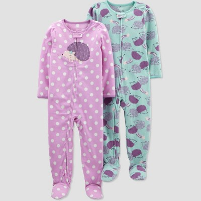 Baby Girls' 2pk Hedgehog Footed Pajama - Just One You® made by carter's Purple 9M