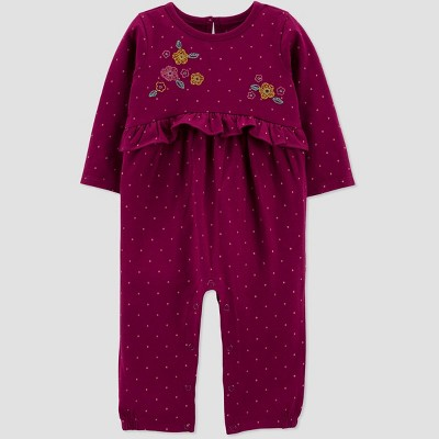 Baby Girls' Floral Jumpsuit - Just One You® made by carter's Burgundy 3M