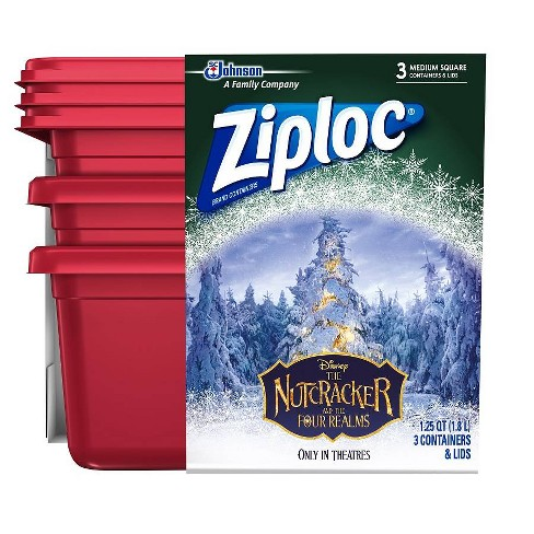 Ziploc Holiday 4ct Medium Red/Gold Square Container - image 1 of 1