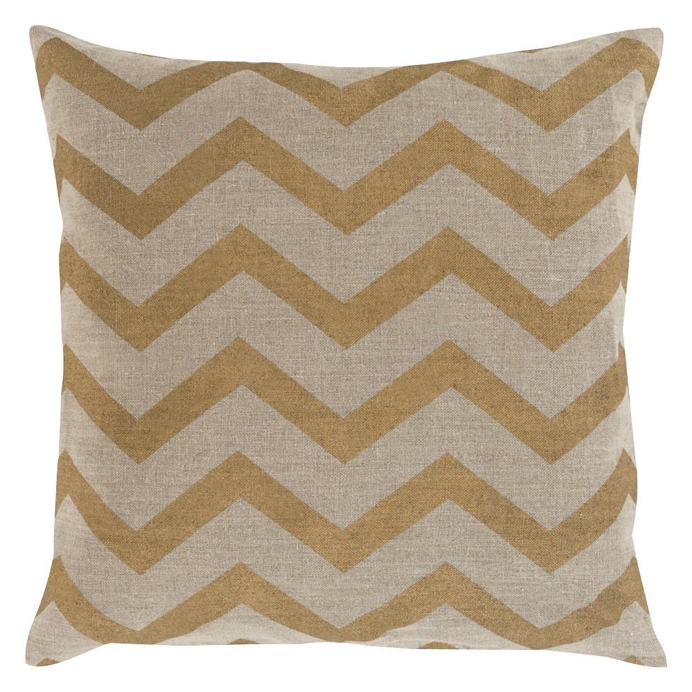 Gold Elsene Chevron Throw Pillow 22