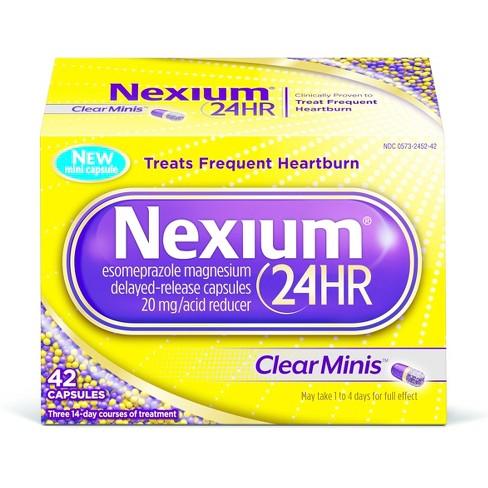 Nexium 24HR ClearMinis Delayed Release Heartburn Relief Capsules, Esomeprazole Magnesium Acid Reducer - 42ct - image 1 of 7