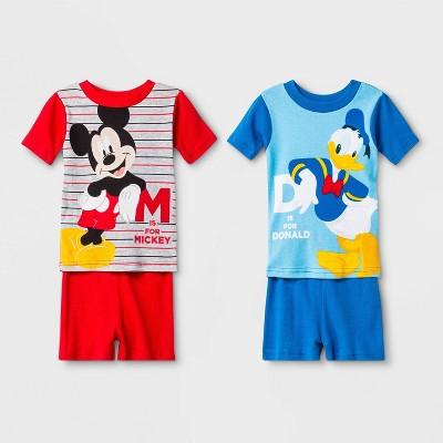 Baby Boys' 4pc Mickey Mouse Pajama Set - Red/Blue 18M