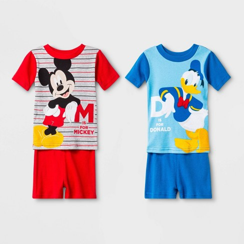 Toddler Boys' 4pc Mickey Mouse Pajama Set - Red/Blue - image 1 of 1