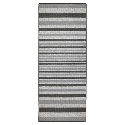 2'X5' Stripes Washable Doormat Gray - Maples