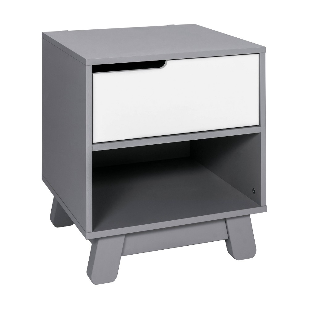Image of Babyletto Hudson Nightstand With Usb Port - Gray And White, Grey/White