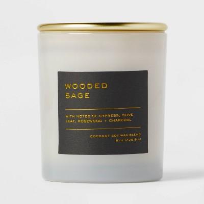 8oz Lidded Glass Jar Black Label Wooded Sage Candle - Threshold™
