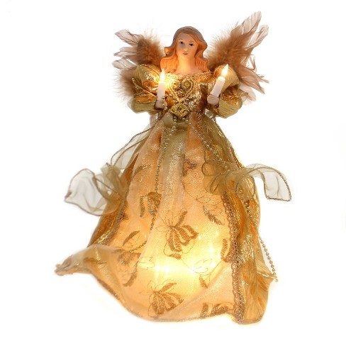 """Christmas 13.0"""" Gold Angel Lighted Treetop Electric Free Standing - image 1 of 2"""