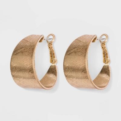 Worn Gold Hoop Earrings - Universal Thread™ Gold