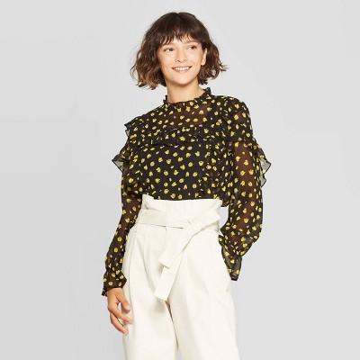 womens-long-sleeve-turtleneck-ruffle-yoke-blouse---who-what-wear by who-what-wear
