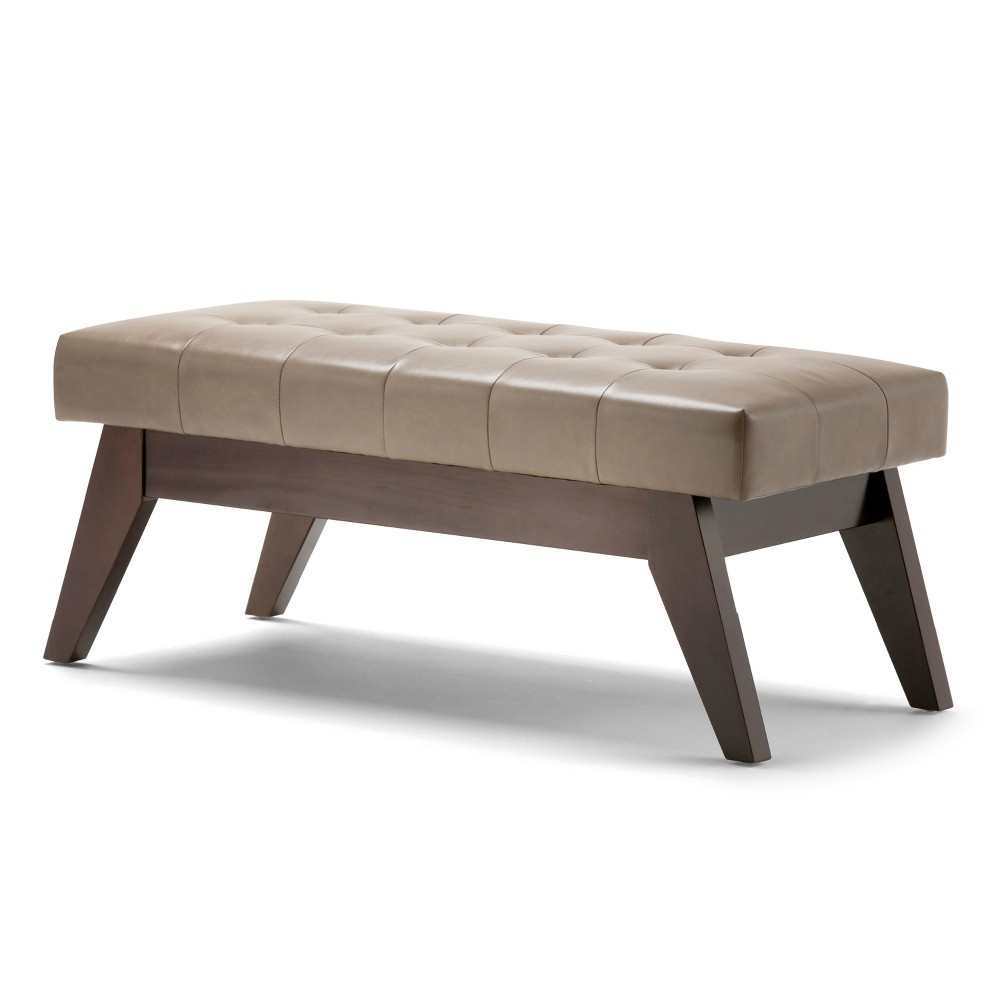 Tierney Mid Century Tufted Ottoman Bench Ash (Grey) Blonde Faux Leather - Wyndenhall