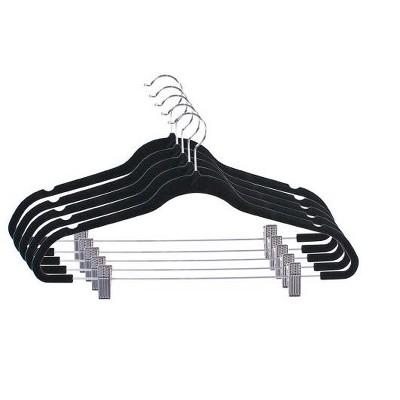 Home Basics Velvet Hanger With Clips, (Pack of 5), Black