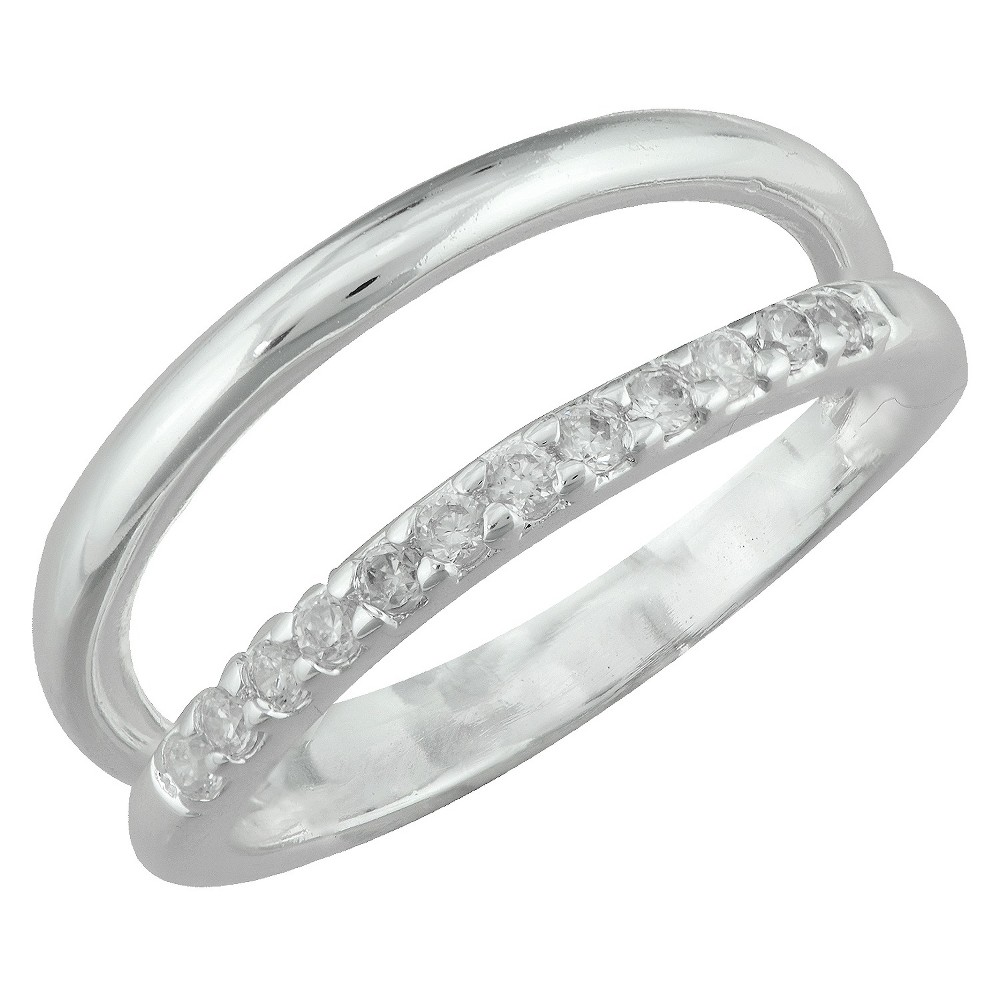 Silver Plated Cubic Zirconia Double Row Open Band Ring - Size 6