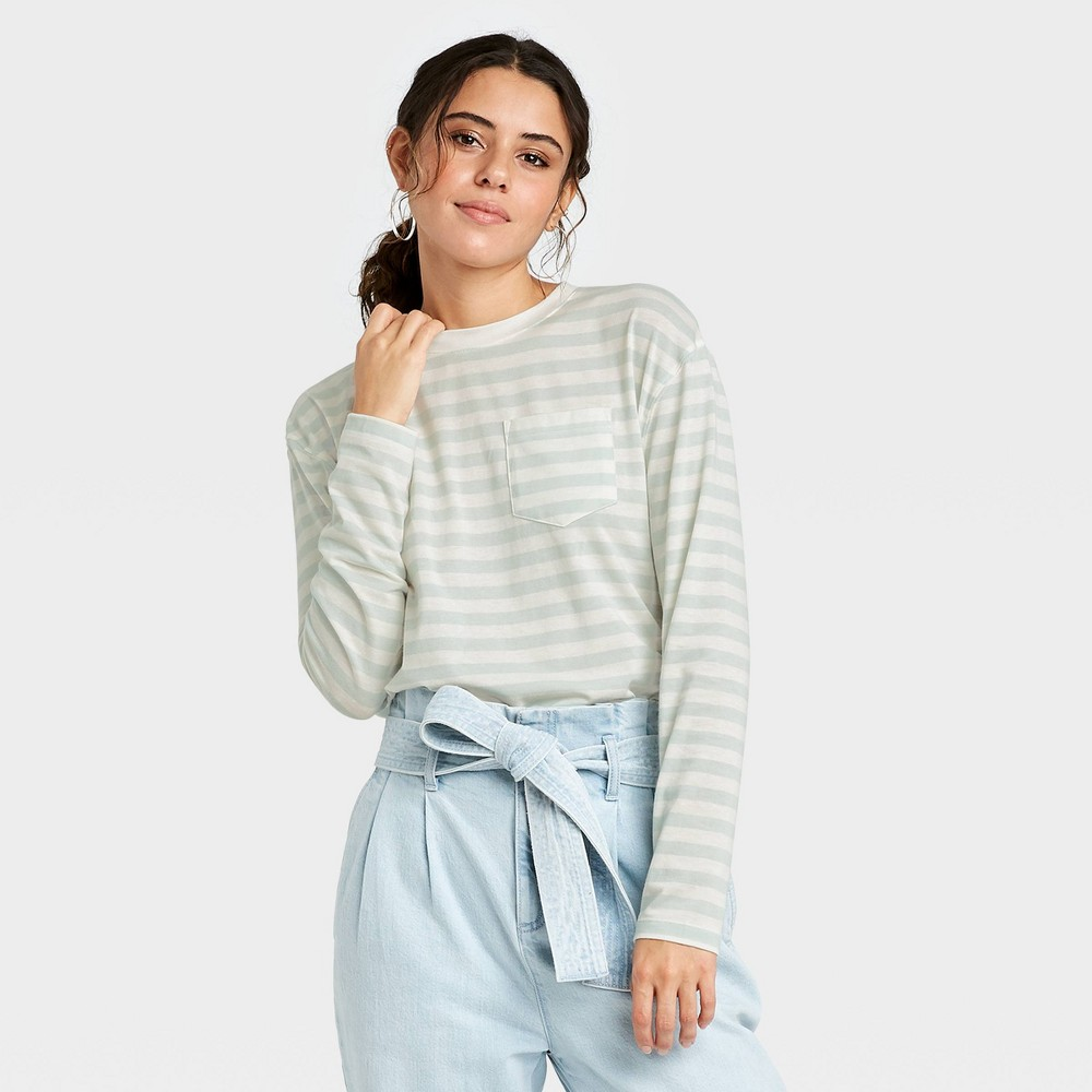 Women 39 S Striped Slim Fit Long Sleeve Round Neck Pocket T Shirt A New Day 8482 Mint L