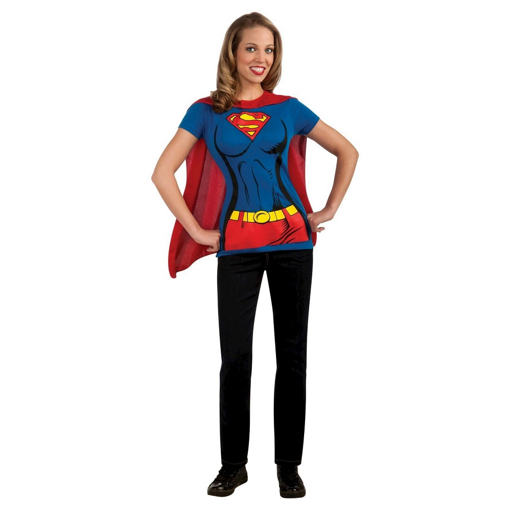 Women's Supergirl T-Shirt Costume - Medium, Blue