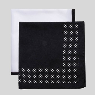 Men's Misi Dots Pocket Square Set - Goodfellow & Co™ Black/White One Size